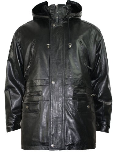 Mens Real Leather Jacket Safari Hooded Removable Fur Lined Soft Napa