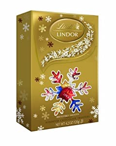Lindt Lindor Truffles Holiday, Assorted Snowflake Box, 4.2-Ounce Packages (Pack of 4)