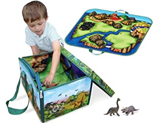 Neat-Oh! ZipBin 160 Dinosaur Collector Toy Box & Playset w/ 2 Dinosaurs by Neat-Oh