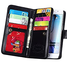 S6 Case, Galaxy S6 Case, Joopapa Samsung Galaxy S6 Wallet Case,Pu Leather Case Magnet Wallet Credit Card Holder Flip Cover Case Built-in 9 Card Slots & Stand Case for Samsung Galaxy S6 (Black)