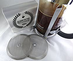 2 Premium Stainless Steel Replacement Filters for Bodum French Press - 2 Filters in Package and Bonus Book Download - Perfect Cup French Press Cup Universal Reusable & Easy Wash from Slimm Beverage Accessories