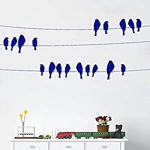 DeStudio Bird On Wire Chalkboard Wall Decal, Size XXX Large & Color : BLUE