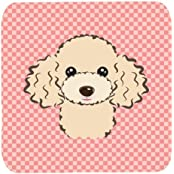 "Caroline's Treasures BB1258FC Checkerboard Pink Buff Poodle Foam Coaster (Set Of 4), 3.5"" H X 3.5"" W, Multicolor"