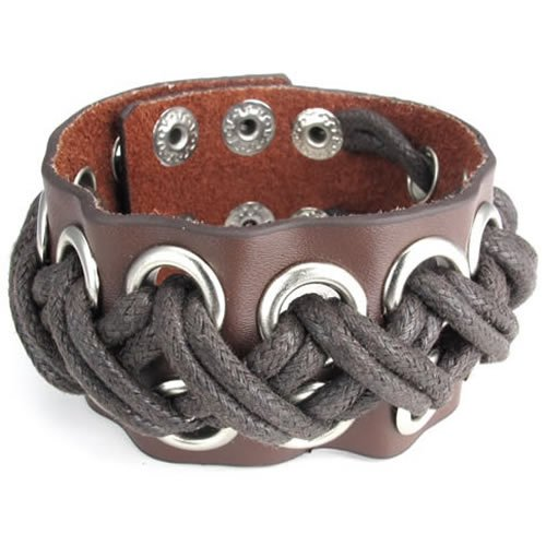 Konov Jewellery Wide Braided Rope Genuine Leather Unisex Mens Bangle Cuff Bracelet, Punk Rock Style, Fits 7.5