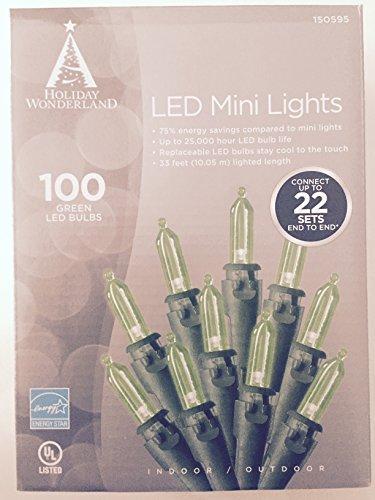 Holiday Wonderland, 100-Count, Green Led Christmas Light Mini Bulb Light Set