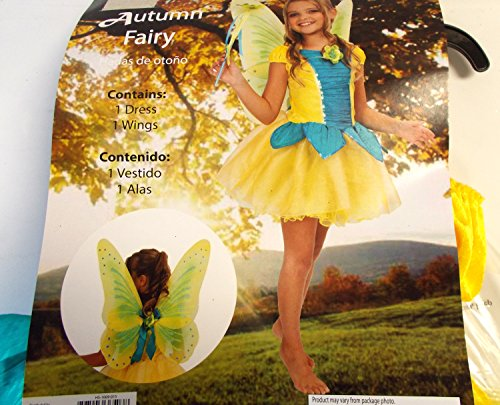 Autumn Fairy Yellow Blue Child Costume Wings 4-6 NIP