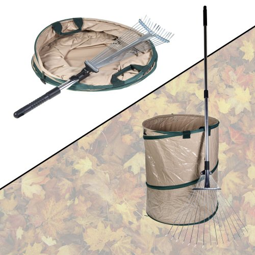 Leaf Rake and Pop-up Container Expandable Collapsible Storage Yard & Lawn Care