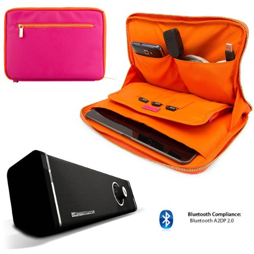 Click to buy Faux Leather Carrying Bag Sleeve Case For Asus MeMo Pad FHD 10, 10 LTE 10.1-inch Tablet + 10hr Bluetooth Speaker Loud Boombox with Subwoofer - From only $115.98