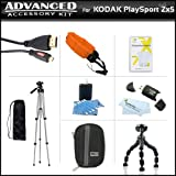 Essential Accessories Bundle Kit For Kodak PlaySport (Zx5) HD Waterproof Pocket Video Camera (2nd Generation) NEWEST MODEL, PLAYFULL CAMERA Includes Hard Shell Case + USB 2.0 Card Reader + Micro HDMI Cable + Tripod + Flexible Tripod + Float Strap + More
