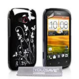 HTC Desire C Case Black Butterfly Hard Cover With Screen Protectorby Yousave Accessories
