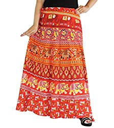 Aura Life Style Women Printed Cotton Long Wrap Around Skirt (ALSK5030W, Red, Free Size)