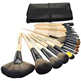 JUJU® Professional 24-Piece Natural Goat and Badger Cosmetic Brush Set with Pouch