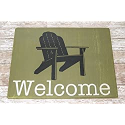 11x14 Custom Hand Painted Welcome Sign (wood) with Adirondack Chair