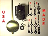 "Quartz Pendulum Clock Movement Kit with 1 Set of Hands Out of 4 Types to Choose From, for Dials up to 1/4"" Thick"