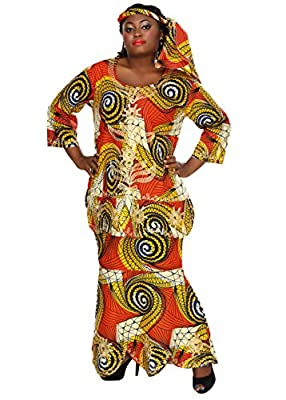 African Planet Women's Ekiwaba Orange Three Piece A-Line Skirt Set Embroidery