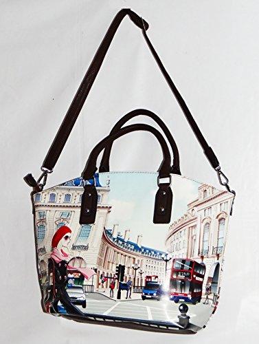 angesagte kultige Tasche, Umhängetasche mit Fotodruck London, Handtasche , Shopper