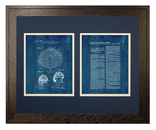 "Camouflaging Covering For Military Helmets Patent Art Midnight Blue Print in a Rustic Oak Wood Frame (16"" x 20"")"