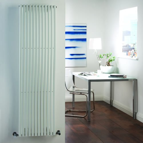 Milano Wave - Luxury White 'Wave' Profile Vertical Designer Central Heating Column Wave Radiator - 1600mm x 460mm