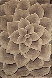 Corolla Area Rug, 2-footx3-foot, TAUPE