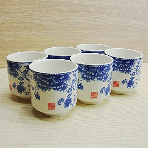 Chinese Tranditional Porcelain Wine Cup 6 Pcs By Oriental-Beauty