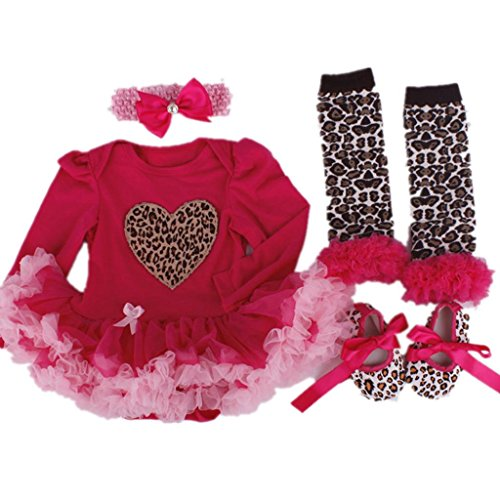 Starkma Baby Girls 4PCs Tutu Outfit Headband Leopard Printed Leggings Shoes AX03