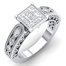 buy 0.10 Carat (Ctw) Sterling Silver Round White Diamond Bridal Millgrain Engagement Ring 1/10 Ct (Size 4.5)
