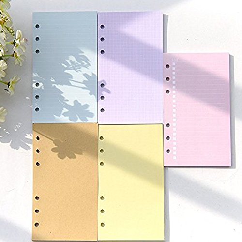 Loghot 5 Sets Assorted Colors Refills Inserts Filler Paper Pages for 6-Holes Notebook, 40 Sheets/Set (A6)