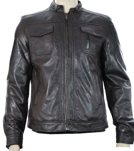 Mens Real Leather Jacket / Biker Style / Brown / Zipped Design / Casual or Formal (xlarge, Brown)