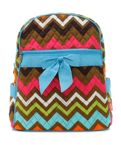 Quilted Multicolor Chevron Backpack Tq