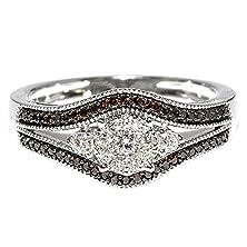 buy Cognac Diamond Bridal Ring 1/3Cttw 10K White Gold Split Shoulder Wedding Ring ( 0.33Cttw)