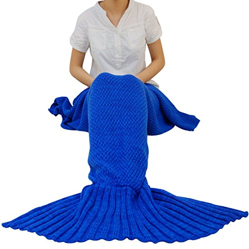 Lowest Price! YING LAN Mermaid Tail Crochet Blanket Sofa Quilt for Adult Living Room, All Seasons So...