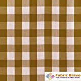 Brown & White 1 Inch Checkered Gingham Poly Cotton, 60 Inches Wide By the Yard