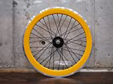 イエロー 20インチ ※自転車ホイール フロントホイール単品 シングルスピード ピストバイク ミニベロ