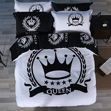 TheFit Paisley Textile Bedding for Adult U432 Black White Crown Duvet Cover Set 100% Cotton, Twin Queen King Set, 3-4 Pieces