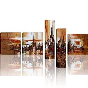 Ctg 00593 5 quadri 145x60 cm gi intelaiati dipinto a for Arredo casa amazon