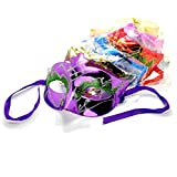6 x Metallic Effect Glitter Detail Classic Style Masquerade Carnival Party Masks - Assorted Colours