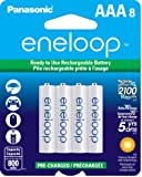 Panasonic BK-4MCCA8BA Eneloop AAA New 2100 Cycle Ni-MH Pre-Charged Rechargeable Batteries, 8-Pack