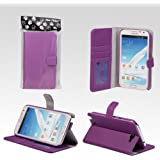 Bear Motion Premium Folio Case for Samsung Galaxy Note 2 Note II N7100 with Snap Button Closure (no magnet anywhere) - (Purple)