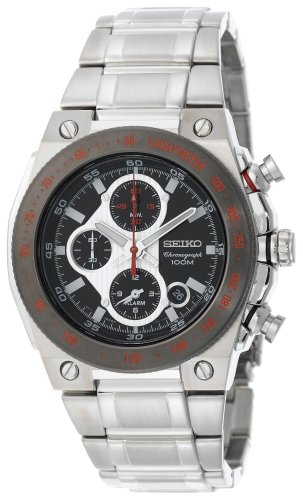 Seiko Men's SNAD55 Silver-Tone Black Dial Red Markers Alarm Chronograph  Watch