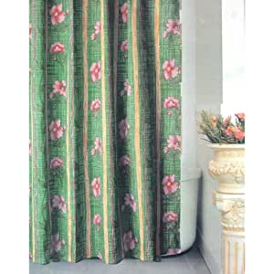 green pink flowers fabric shower curtain. Black Bedroom Furniture Sets. Home Design Ideas