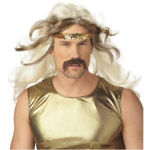 Rock Gold Wig and Moustache Costume Accessory