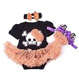 Highdas reci�n nacidos beb� ni�as Halloween Calabaza del mameluco Romper Tutu vestido de noche + Banda de cabeza + Zapatos 3 pcs, 3-6 Meses