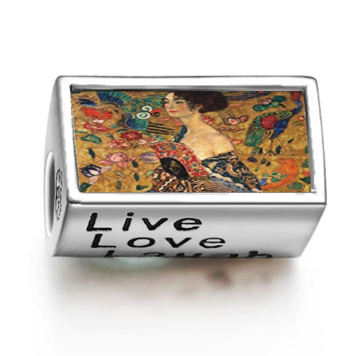 Soufeel Lady With A Fan Words Live Love Laugh Bead Charm Fits Pandora/Chamilia/Troll/Biagi Bracelets