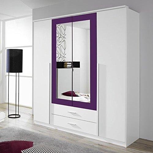 Kleiderschrank-wei-lila-4-Tren-B-181-cm-brombeer-Schrank-Drehtrenschrank-Wscheschrank-Spiegelschrank-Kinderzimmer-Jugendzimmer