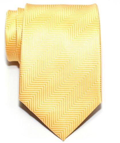 Retreez Herringbone Stripe Woven Men's Tie - Yellow (Men Ties Yellow compare prices)