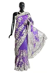 Dark Mauve Net Saree With Silver Sequin And Zari Thread Work All-Over, Pallu And Border - Net