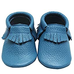 Mejale Baby Leather Moccasin Soft Soled Tassel Slip-on Newborn Infant Shoes Prewalker