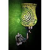 Jaipuri Hand Painted Work Design Glass Pendant Wall Light & Lamp 8 X 14 Inches