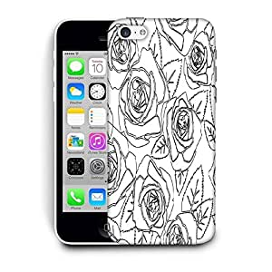 Snoogg Black Roses White Pattern Printed Protective Phone Back Case Cover For Apple Iphone 5C