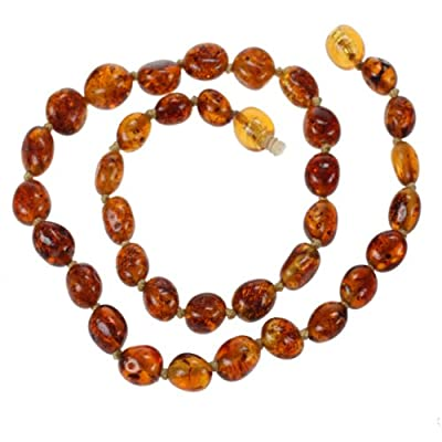 Certified Genuine Baltic Amber Teething Necklace Baby Beads - Cognac Honey Olive-shape Beads from Amberbeata